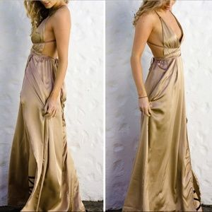Golden Satin Skirt Boho Maxi Dress